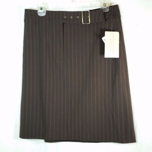 Apostrophe Stretch Ladies Skirt Brown Pin Striped